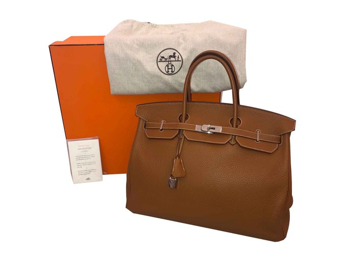 Hermès Birkin Handbags Leather Caramel ref.106627