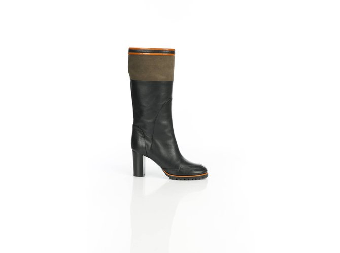 Chloé Leather riding boots Boots Suede,Leather Black,Green ref.106649