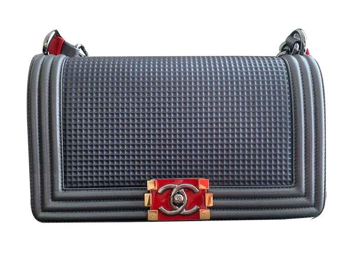 Chanel Chanel boy bag Handbags Leather Grey ref.106663