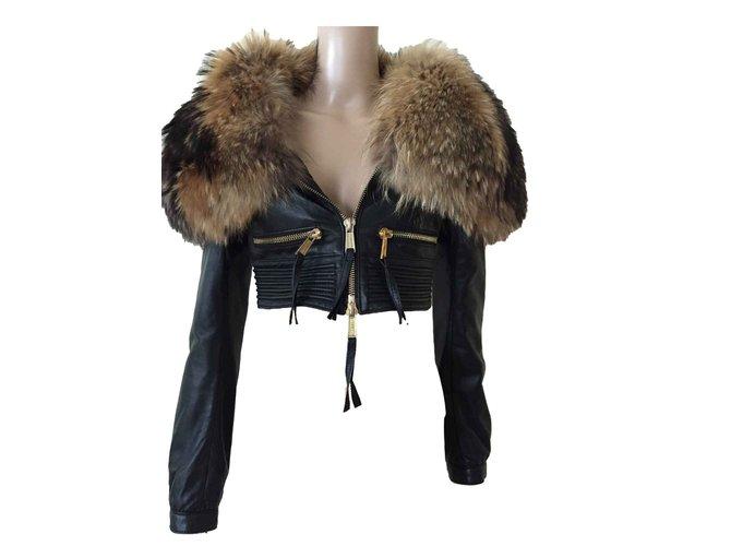 Manteaux Dsquared2 Manteaux, Vêtements d'extérieur Fourrure,Cuir d'agneau Noir ref.106675