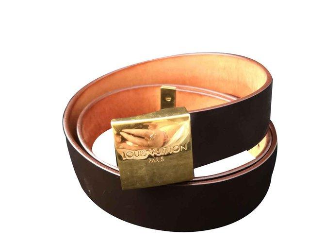 e4543bc30684 Louis Vuitton Beautiful Louis Vuitton belt Belts Patent leather Dark brown  ref.106677