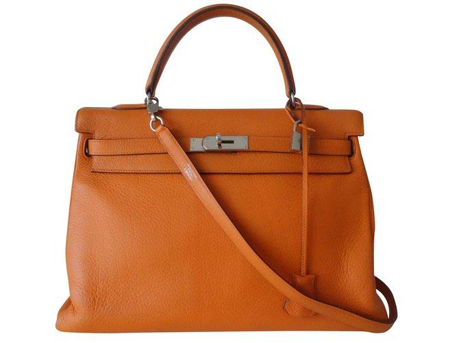 Sacs à main Hermès SAC HERMES KELLY ORANGE Cuir Orange ref.106728