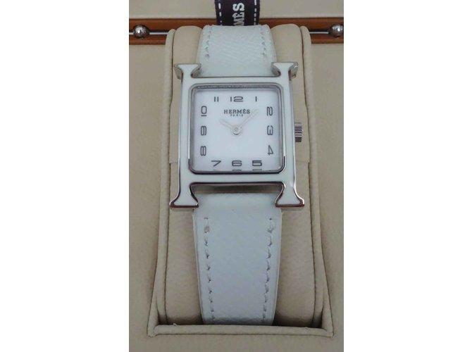 Montres Hermès MONTRE HERMES HEURE H - NOUVELLE COLLECTION Cuir,Acier Blanc ref.106735