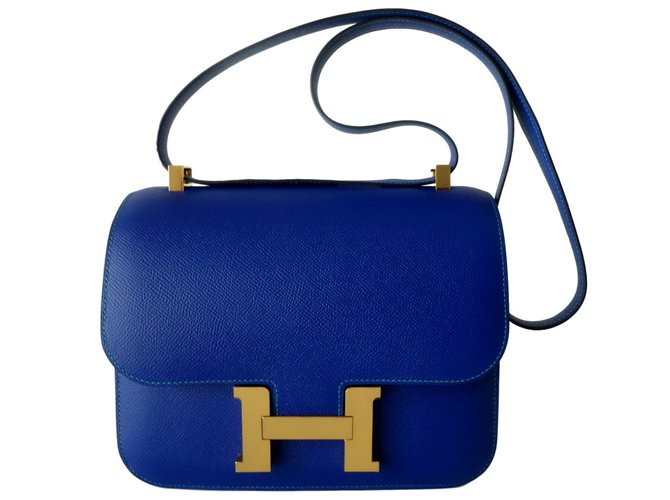 Hermès HERMES CONSTANCE BAG 24 bicolour Handbags Leather Blue,Light blue ref.106792