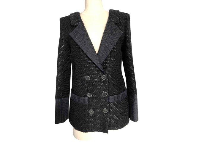 Vestes Chanel Veste Noire Chanel taille 40 (petit) Tweed Noir ref.106803