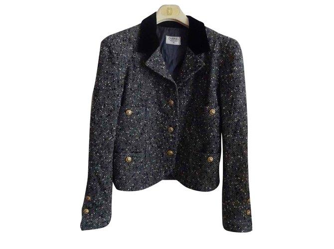 Vestes Chanel Vintage Laine Gris ref.106812