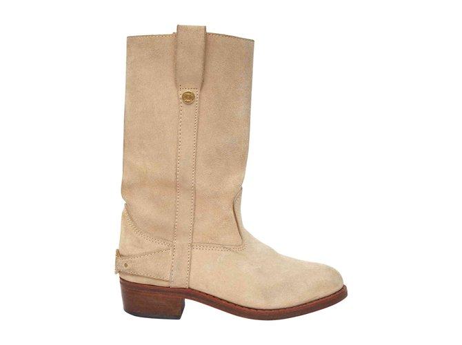 Céline SWEDEN BEIGE FR37 Boots Deerskin Beige ref.106822