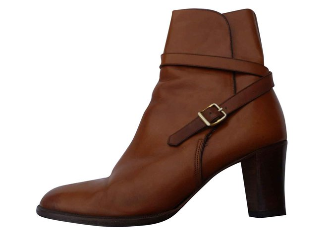 Bottines Hermès Bottines Cuir Caramel ref.106824