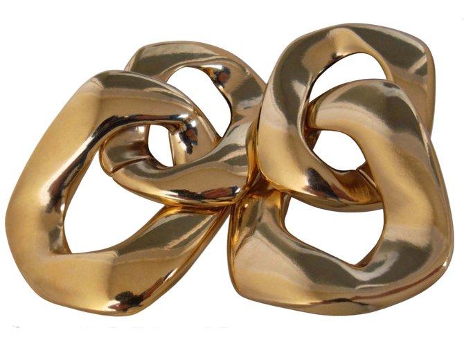 Boucles d'oreilles Yves Saint Laurent CLIPS CHAINE MAILLONS Plaqué or Doré ref.106836