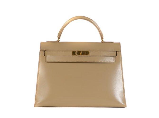 Sacs à main Hermès Hermès Kelly 32 sellier en cuir box beige en superbe état ! Cuir Beige ref.106873