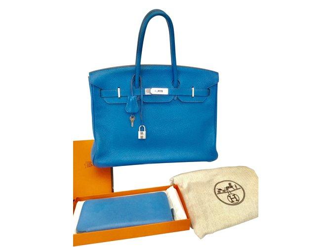 Sacs à main Hermès Birkin Cuir Bleu ref.106884