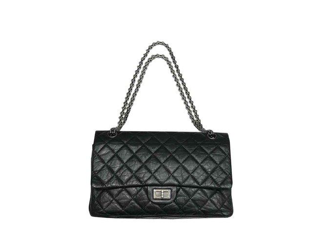 Sacs à main Chanel Reissue 2.55 Cuir Noir ref.106894