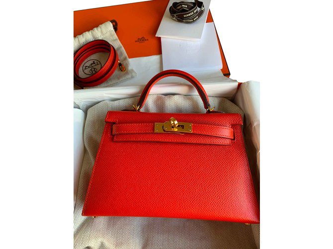 Sacs à main Hermès Hermes Kelly Mini II C011 H071302 Cuir Orange ref.106895