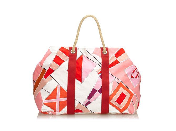 Sacs de voyage Hermès Drapeaux Au Vent Sac De Voyage Coton,Tissu Rouge,Multicolore ref.106925