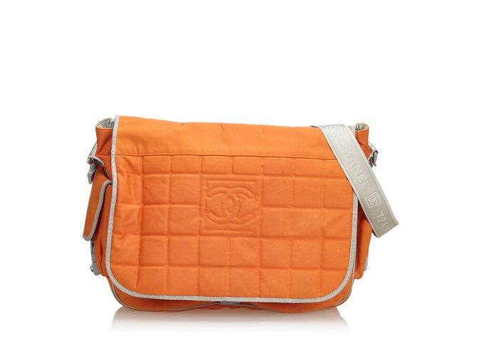 Sacs à main Chanel Sac à bandoulière en nylon Sports Line Autre,Nylon,Tissu Orange,Gris ref.106979