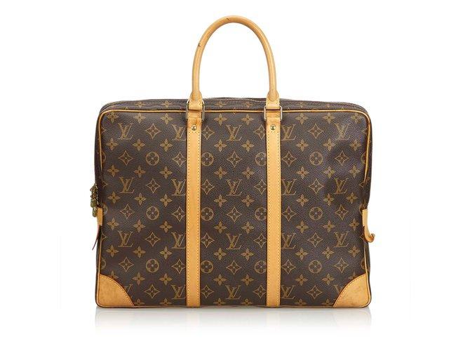 b676639599ccd Louis Vuitton Monogram Porte-Document Voyage Bags Briefcases Leather ...