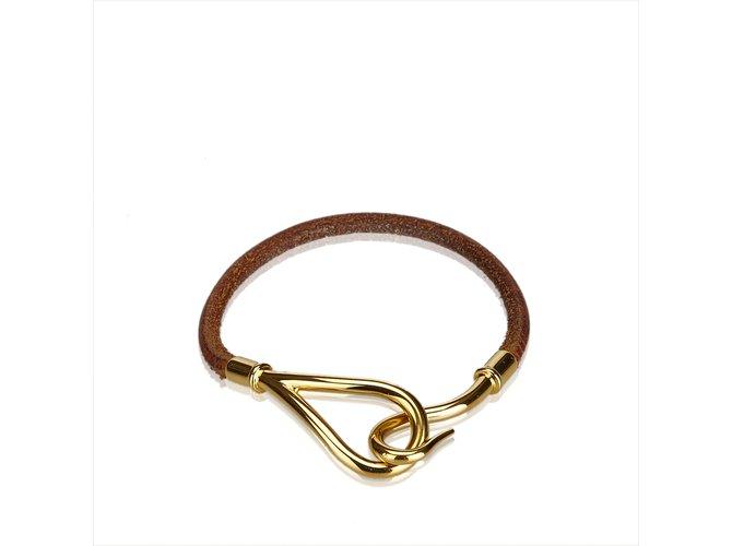 Bracelets Hermès Bracelet Crochet Jumbo Cuir,Autre,Métal Marron,Doré,Marron foncé ref.107003