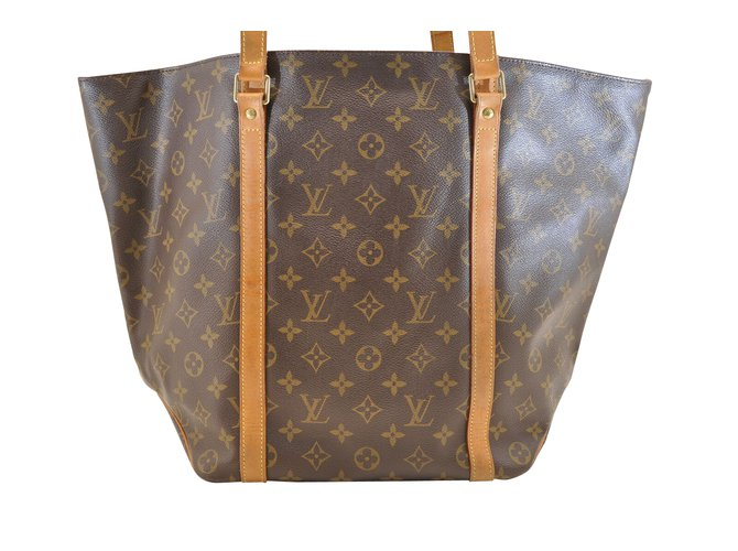 457dc1f1733 Louis Vuitton Louis Vuitton Sac Shopping Handbags Cloth Brown ref.107050