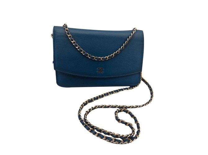Sacs à main Chanel Woc Cuir Bleu ref.107063