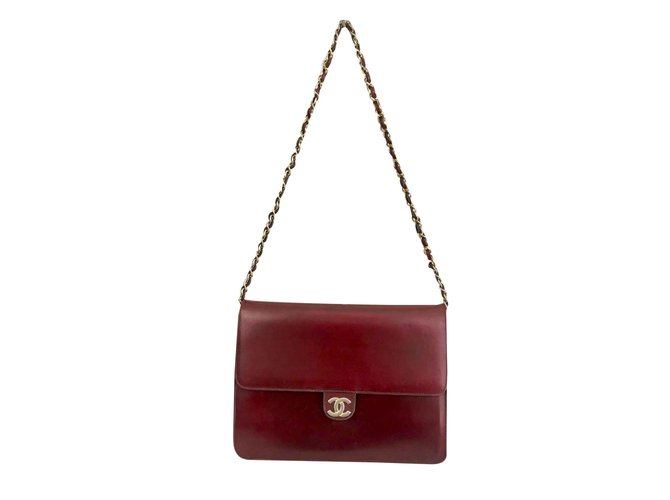 Sacs à main Chanel Sac Chanel wallet on Chain en cuir Cuir Bordeaux ref.107115