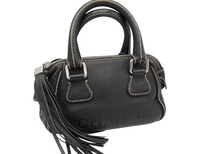 Sacs à main Chanel CHANEL Mini sac bowling RARISSIME ! Cuir Noir ref.107120