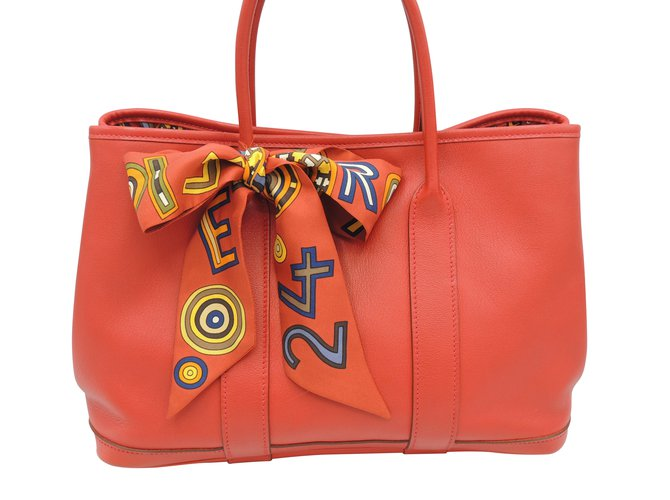 Hermès HERMES GARDEN PARTY LIMITED EDITION Handbags Leather Red ref.107125