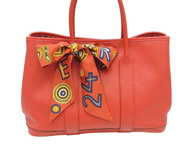 Sacs à main Hermès HERMES GARDEN PARTY EDITION LIMITEE Cuir Rouge ref.107125