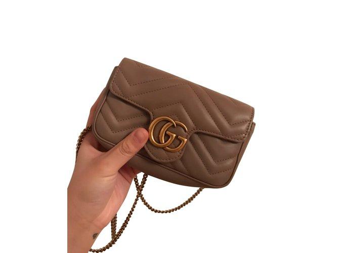 74d55d349c29 Gucci Mini marmont Handbags Leather Beige ref.107148 - Joli Closet