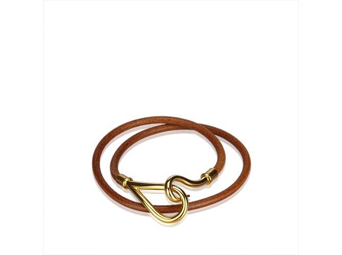 Bracelets Hermès Bracelet Double Tour Jumbo Hook Cuir,Autre,Métal Marron,Doré ref.107185