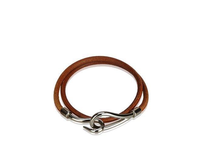 Bracelets Hermès Bracelet Double Tour Jumbo Hook Cuir,Autre,Métal Marron,Argenté ref.107190
