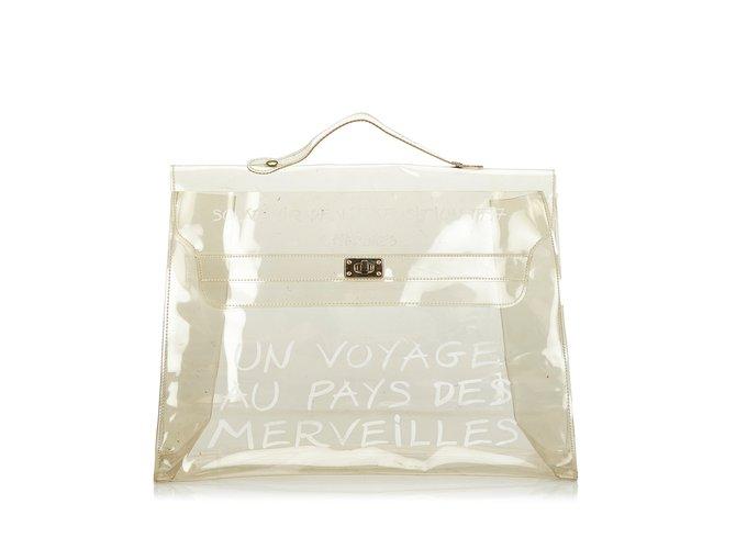 Sacs à main Hermès Vinyl Kelly Autre,Plastique Blanc ref.107202