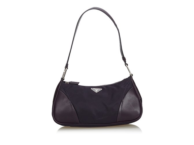 a715f0d6dbdb Prada Nylon Baguette Handbags Leather,Other,Nylon,Cloth Black ref.107208