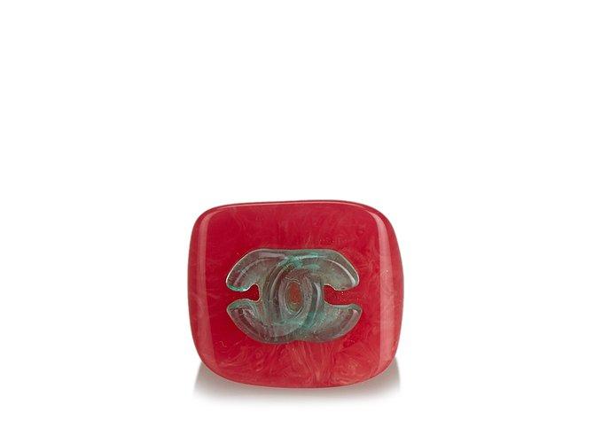 Bagues Chanel Bague CC Plastique,Résine Rose,Autre,Vert ref.107210