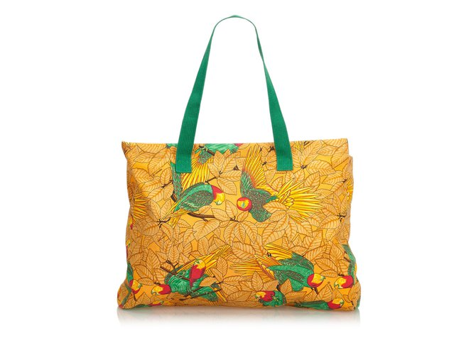 Cabas Hermès Sac cabas en toile imprimée Toile,Tissu Multicolore,Orange ref.107231