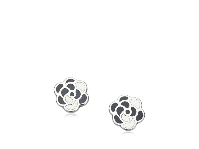Boucles d'oreilles Chanel Boucles d'oreilles en camélia Autre,Métal Noir,Argenté ref.107245