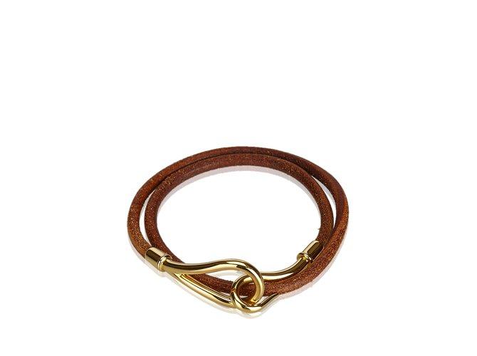 Bracelets Hermès Bracelet Double Tour Jumbo Hook Cuir,Autre,Métal Marron,Doré ref.107246