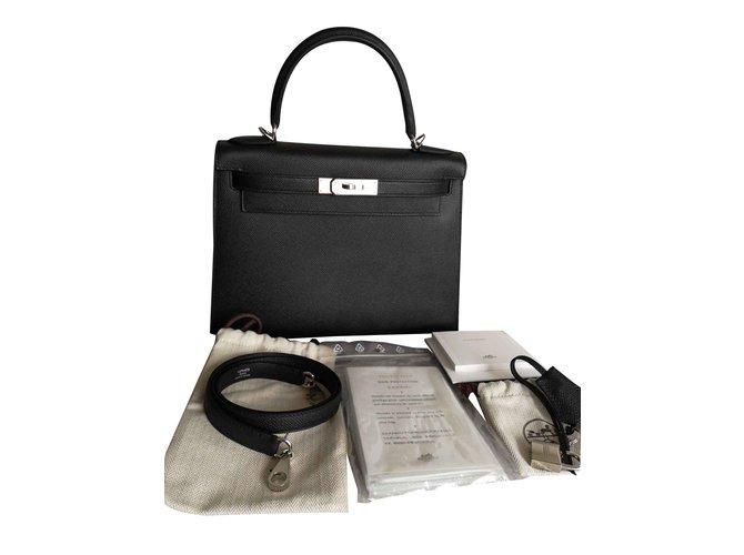 Sacs à main Hermès Kelly Cuir Noir ref.107265