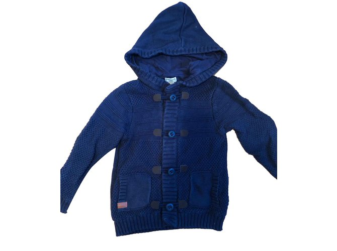 Pulls, gilets garçon Cyrillus Cardigan/Blouson bleu marine Coton Bleu Marine ref.107276
