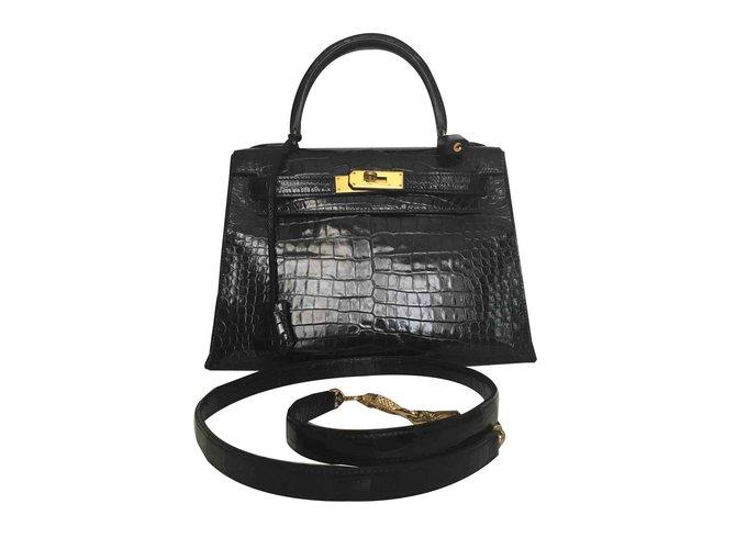 Sacs à main Hermès HERMES KELLY SELLIER POROSUS Cuirs exotiques Noir ref.107284