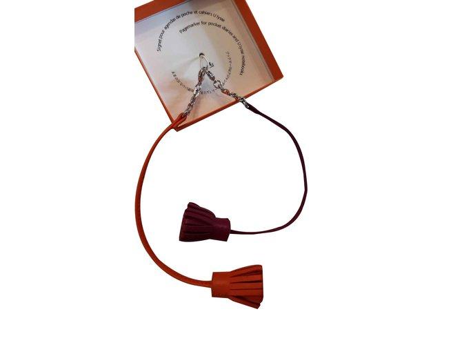 Bijoux de sac Hermès CARMENCITA Cuir Orange ref.107288