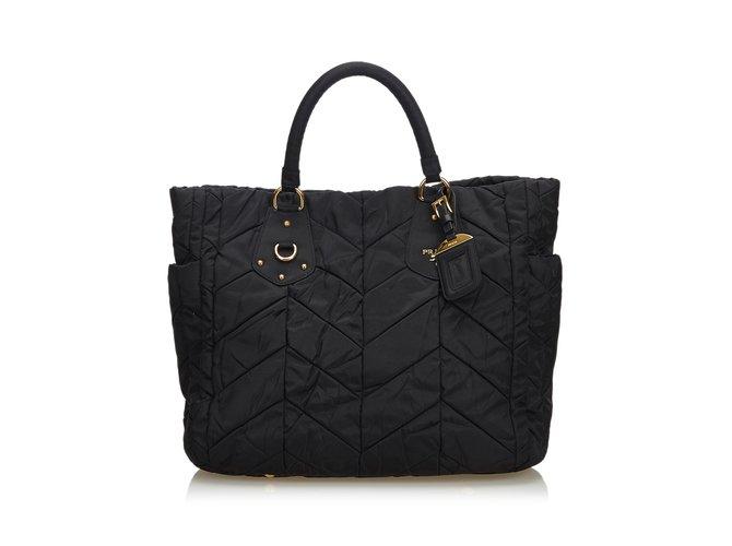 f24301a1a518 Prada Nylon Tote Bag Handbags Leather