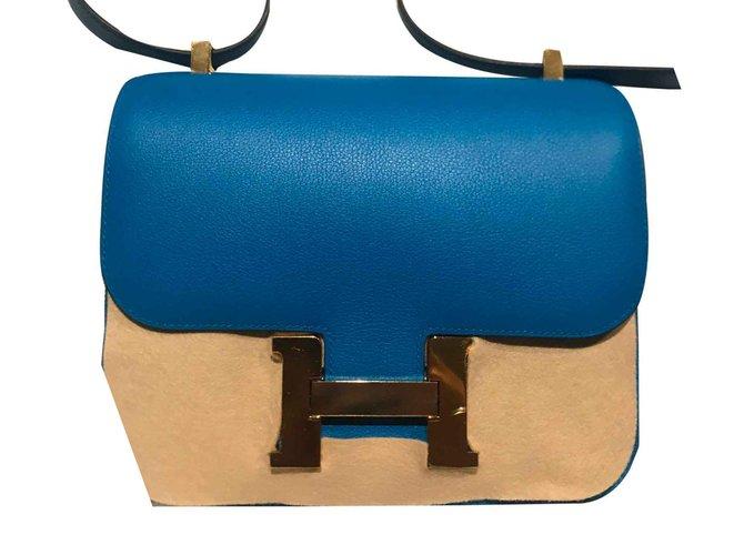Hermès Handbags Handbags Pink gold Blue ref.107489