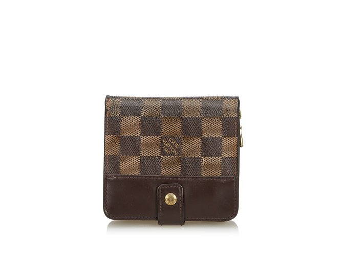 9fc76c2f3442 Louis Vuitton Damier Ebene Compact Zip Wallet Misc Leather