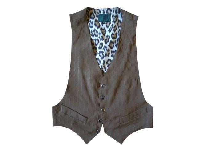Jean Paul Gaultier Vintage vest by Jean Paul Gaultier Men Coats Outerwear Viscose Khaki ref.107611