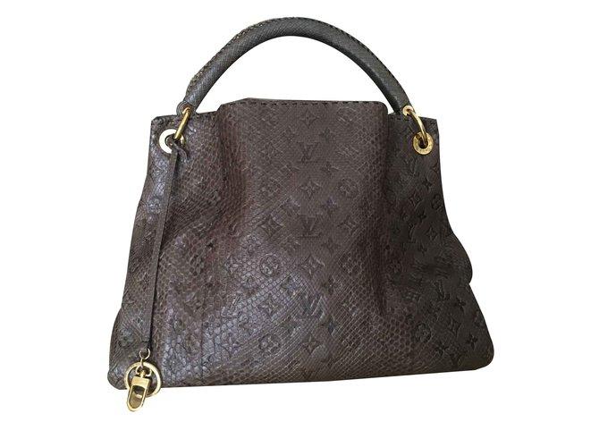 Louis Vuitton Louis Vuitton Gris Brown Monogram Python Artsy MM Shoulder Bag  Handbags Leather b19f6c4214fc8