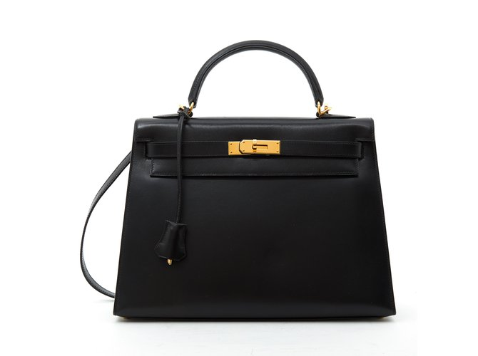 Hermès KELLY II SELLIER 32 BLACK Handbags Leather Black ref.107700
