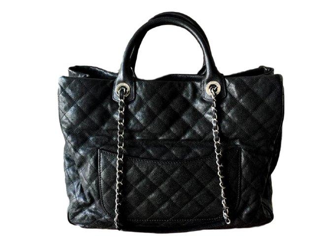 249f3213248e Chanel Chanel Large Black Caviar Shopping tote Handbags Leather Black  ref.107715