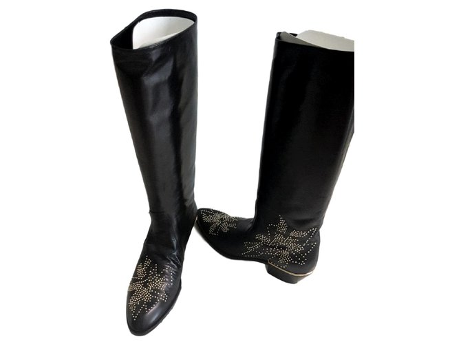 Chloé Chloe Black Susanna boots EU 38.5 Boots Leather Black ref.107718