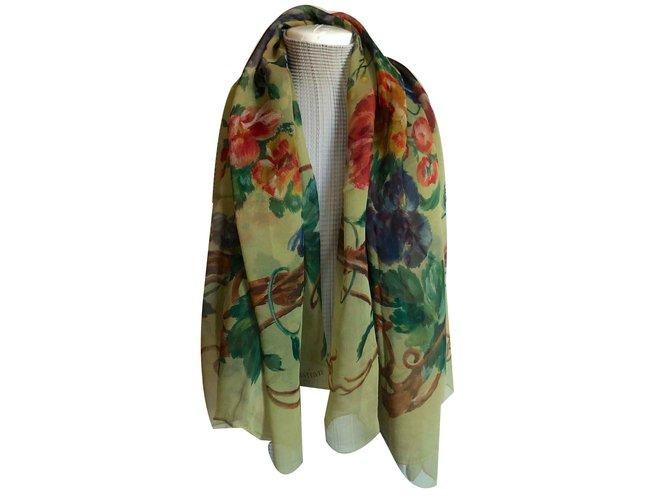 liquidation à chaud haut de gamme pas cher nouvelle version Grand Foulard soie vert imprimé fleurs