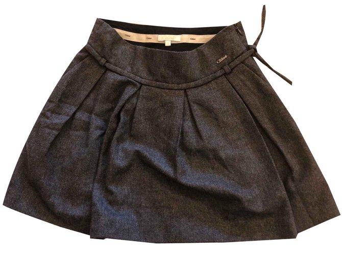 Chloé Dark grey skirt Skirts Wool Dark grey ref.107753